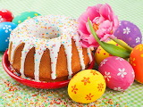 Colours-colorful-donut cake-colored eggs-flower-food-Easter