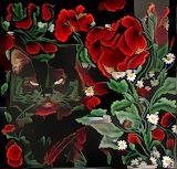 Coal and red flowers