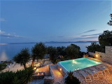 Beautiful sea view villa in Corfu at dusk