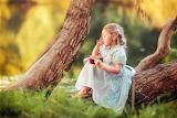 Summer, trees, nature, trunk, barefoot, dress, girl, child, jam