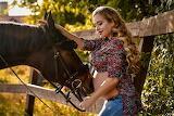 pregnant woman, horse