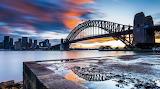 Sunset at the river bridge