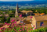 City, trees, flowers, mountains, France, field, house, roof, Bon