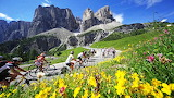 Cycling race on the roads of the Dolomites