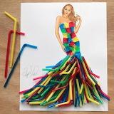 ^ Plastic straw dress - Edgar Artis