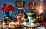Flowers, style, books, lamp, bouquet, kettle, knife, mug, pictur