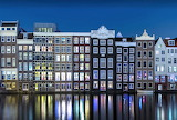 Amsterdam on canal at night
