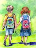 Schooldays -Val Stokes painting