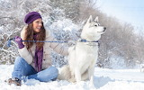 Dog-snow-girl-nature-winter-1080p