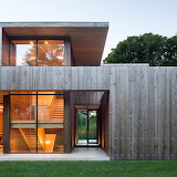 Weathered timber modern house