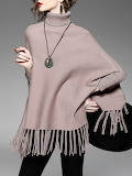 SFEISHOW Fringed Turtleneck Knitted Solid Long Sleeve Sweater