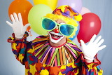 Clown, balloons, hat, hands, glasses, outfit, gloves, air, makeu