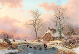 Frederik Marinus Kruseman-The frozen Pond