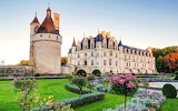 Grass, flowers, castle, the Loire valley, garden, flowers, trees