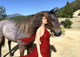 Girl, trees, mountains, nature, horse, wind, hills
