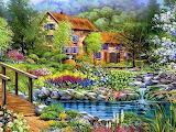 Painting house water bridge rocks flowers trees