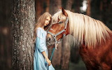 Girl-and-brown-horse-tree