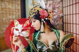 Girl, decoration, style, costume, outfit, room, makeup, mask