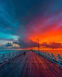 Beautiful sunset and ocean boardwalk
