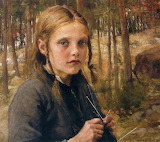 Albert Edelfelt, A Girl Knitting Socks, 1896
