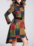 Yiyiqi Color-Block Pockets Checkered Turtleneck Midi Dress