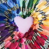 Embroidery floss heart