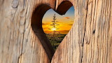 heart with sunset view
