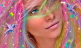 beautiful girl with rainbow colored hair