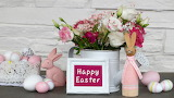 Decoration-easter-flowers-bunny-happy-eggs