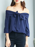 Lillith A Paris Navy Blue Polyester Off Shoulder Simple Bow B
