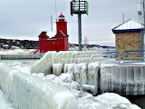 Holland Harbor Lighthouse in Winter Michigan USA