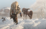 Man, cowboy, snow, traces, horse, hat, Rockstar, Bandit, Red Dea