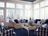 ^ Sunroom in blue checkered fabric