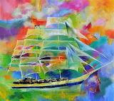 Colourful sailing boat