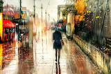 girl walking in the rain