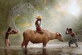 Drops, light, children, Indonesia, Java, splashes of water, boys