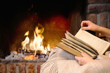 Home, book, read, blanket, fire, fireplace