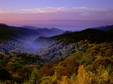 Fog at sunset Great Smoky Mountains
