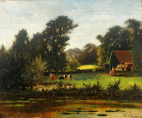 River Scene with Cattle by William Frederick Dupont