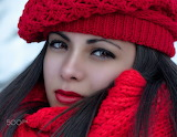 beautiful girl wearing red scarf and hat