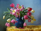 ^ Pink and yellow tulips, blue vase