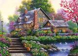 Cottage fleuri-peinture