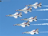 Air show planes staggered flight