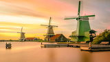 Open-Air Museum of Windmills Zaanse Schans in Zaanda/Netherlan