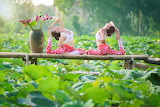 Girls, summer, leaves, nature, gymnastics, yoga, Asian, flowers
