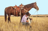 ^ Man, Horse, Australian Shepherd dog