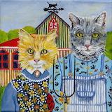 ^ American Gothic Cat Style Folk Art