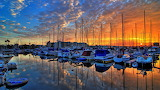 Harbor, boats, sea, city, sunset, sky, clouds, colorful