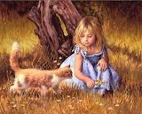 Sweet Girl & Kitten
