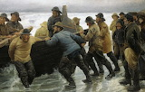 Launching a Boat. Michael Peter Ancher 1881